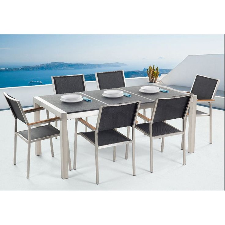 Outdoor Velago Grosseto Stainless Steel Rectangular 7 Piece Patio Dining  Set with Granite Table Top - - 25+ Best Ideas About Granite Table Top On Pinterest Concrete