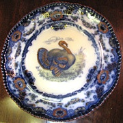 Stunning Antique English Flow Blue Polychrome Turkey Plate, Lincoln No 2  Fay Wray Antiques Ruby Lane
