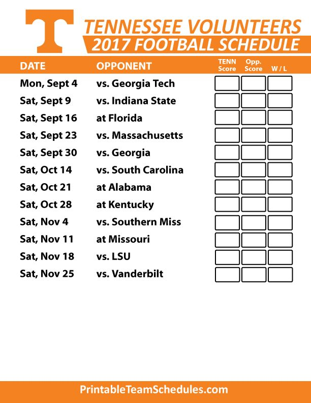 2017 Tennessee Volunteers Football Printable Schedule
