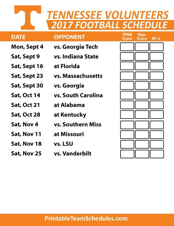 2017 Tennessee Volunteers Football Printable Schedule