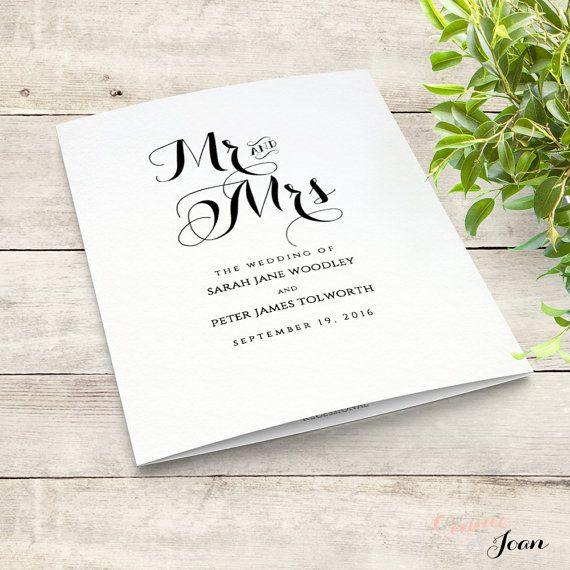 Printable Folded Order of Service Wedding Program. Byron. Edit, print, fold | DIY Editable printable template | A4 and 8.5x11, no trimming!