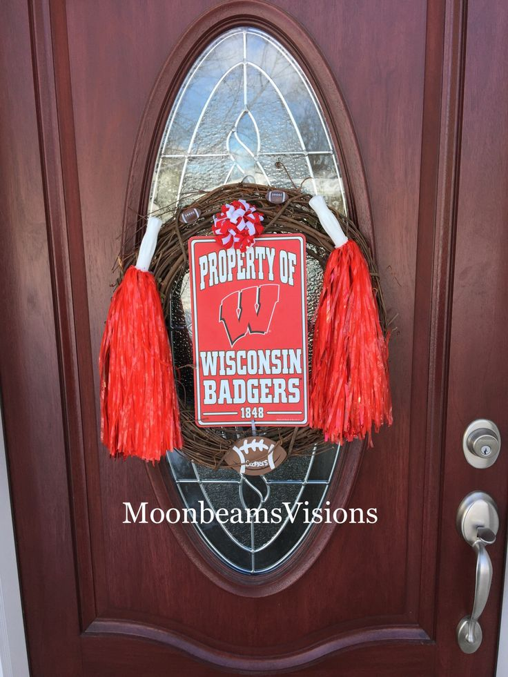 A personal favorite from my Etsy shop https://www.etsy.com/listing/487925306/wisconsin-badgers-wreath-college-wreath