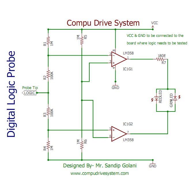 Hi Dear Student And Friends Today I Am Giving A Small Logic Probe Circuit Based On Opamp A Very Useful Tool Digital Circuit Digital Prototype Design