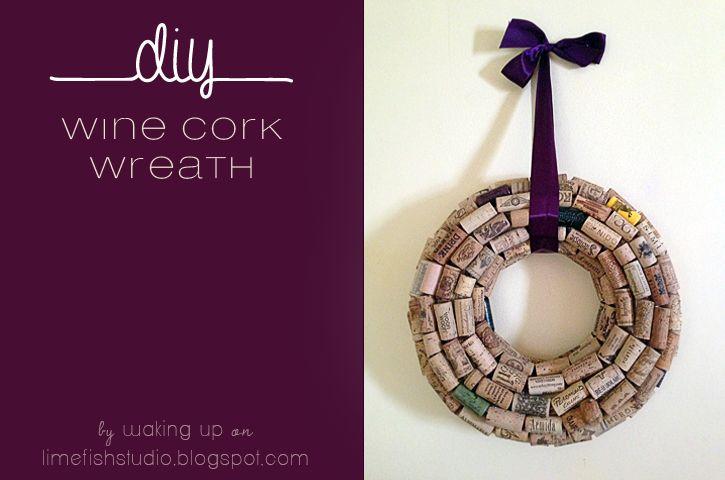 #DIY #Wine #Cork #Wreath Tutorial © Waking Up, Blog Contributor featured on Limefish Studio