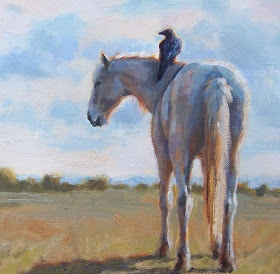 Equine Artists of Colorado: Susan Bell artists, equine oil painting, Horses & Crows