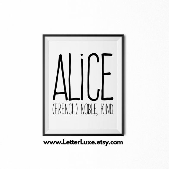 159 best baby name meaning art images on pinterest baby names kid alice name meaning art printable baby shower gift nursery printable art digital print nursery decor typography wall decor negle Image collections