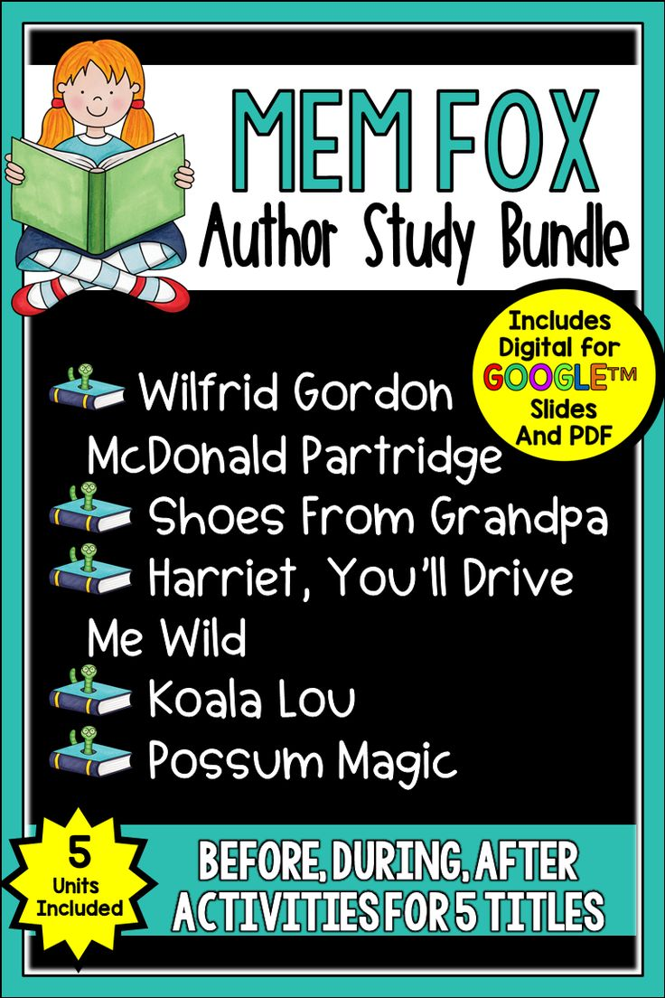 This Mem Fox Author Study is just what you need to celebrate this famous Aussie author. It has all you materials to go with Wilfred Gordan McDonald Partridge, Koala Lou, Harriet, You Drive Me Wild, Possum Magic, and Shoes from Grandpa in both Digital and PDF formats. These wonderful books celebrate life in Australia and family relationships. This bundle includes guided reading materials that you can use with the books, writing options, and more.