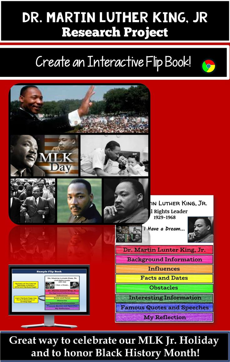 This high-interest research-based activity is a perfect way to celebrate our Martin Luther King, Jr. Holiday or can provide you with a mini-research project to use with your students during Black History Month. Let your students' critical thinking skills sharpen and creativity shine with the Martin Luther King, Jr. Research-Based Interactive Layered Flip Book!