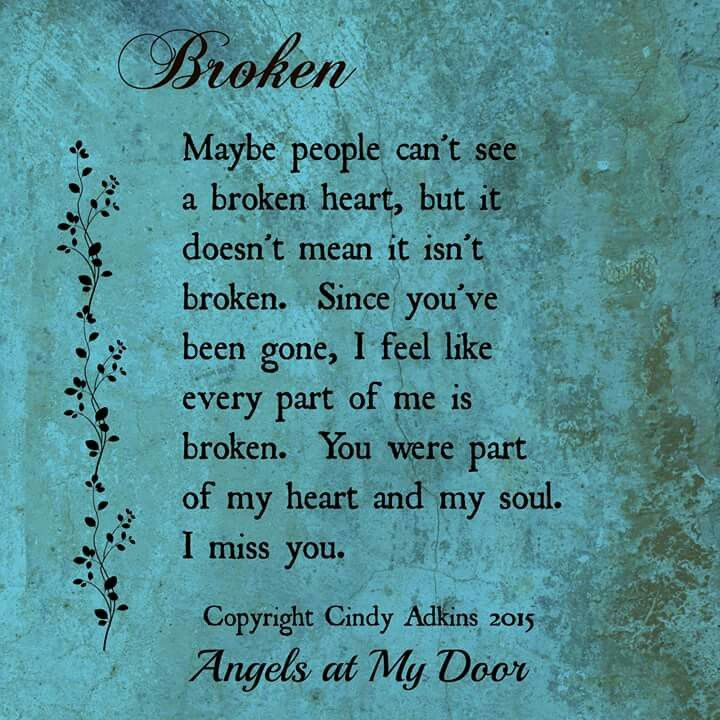Miss you everyday more and more..something is terribly broken inside of me Mom.