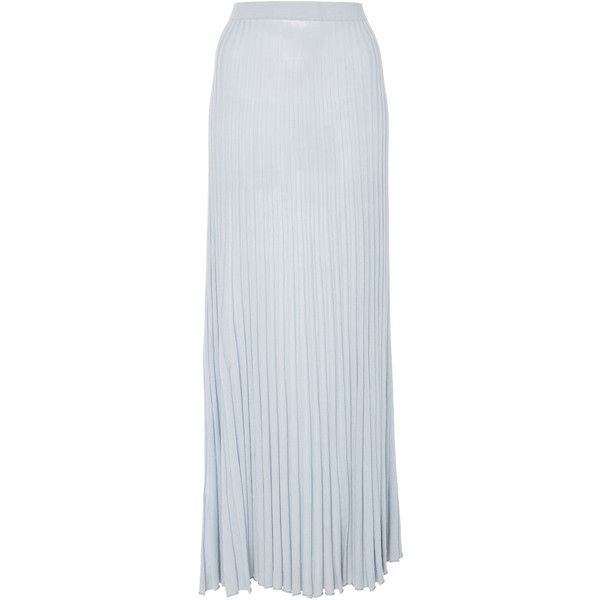 Zynni Pleated Maxi Skirt ($335) ❤ liked on Polyvore featuring skirts, blue, maxi skirts, high-waisted maxi skirts, blue skirts, long blue skirt and blue pleated skirt
