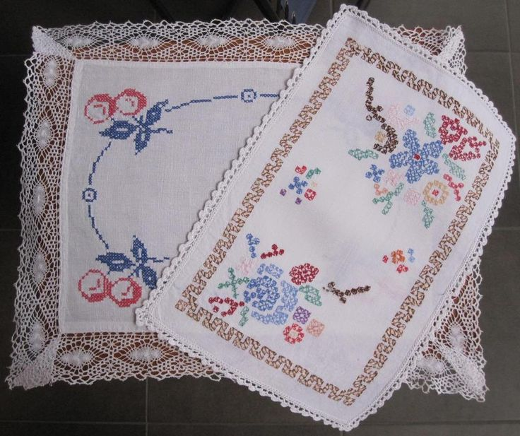 Two Large Rectangle DOILIES with Crochet / Bobbin Lace Edge 49cms x 39cms 41cms x 27cms Embroidery work is Cross Stitch on Linen Fabric In good vintage condition *Washed *Starched *Ironed and comes to you ready to use.