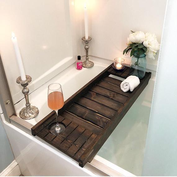 Cedar Bath Tray With Wine Holder Bath Caddy Bath Tray With Ipad