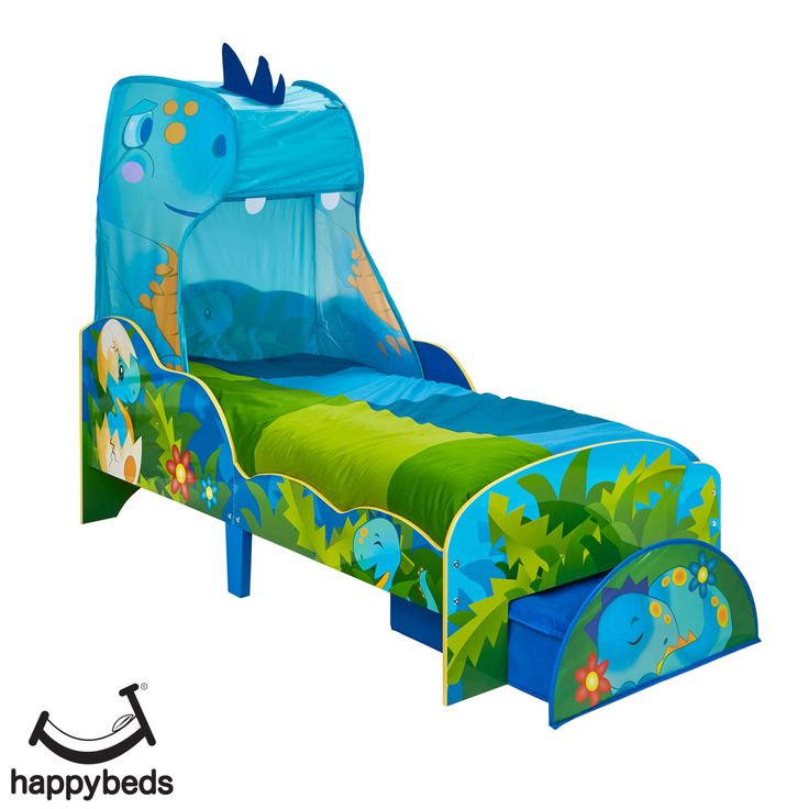 Dinosaurs Canopy Toddler Bed in 2020 | Dinosaur toddler ...