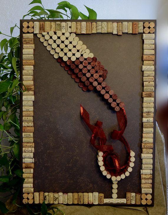 arte de pared de corcho del vino botella del vino por blingbaby