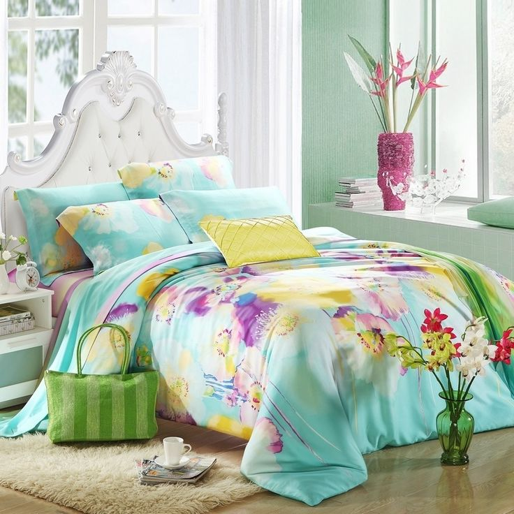 Aqua Blue Purple And Yellow Abstract Modern Floral Print