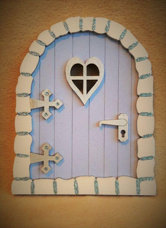 Fairy Door Handpainted Baby Blue Glitter Tooth Fairy Door