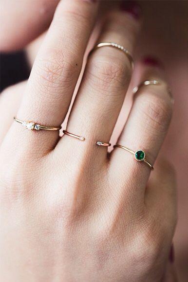 anéis de falange e anéis delicados