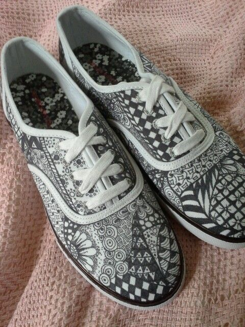 Designed my very own pair of zentangle shoes!!