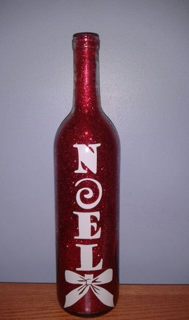 Holiday Glitter Wine Bottles with glitter on the INSIDE! No mess. Each item is made to order. Variety of glitter & vinyl colors available. Call for more details!  www.stone-effects.com