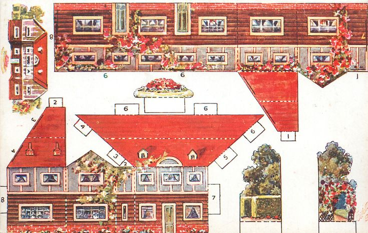 large house with two wings,red roof, garden on both sides