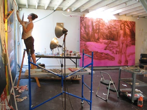 rebecca campbell - portrait, painting in the studio