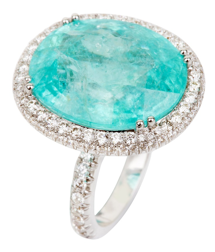 Nourbel & Le Cavelier at Burlington Arcade- ring mounted with a rare 19.25ct Paraiba, surrounded by 1.2ct diamonds in 18k white gold