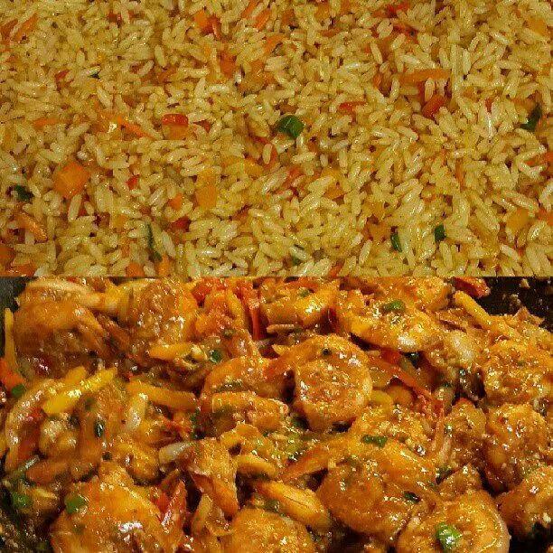 #homemade #friedrice and #peppershrimp #yum