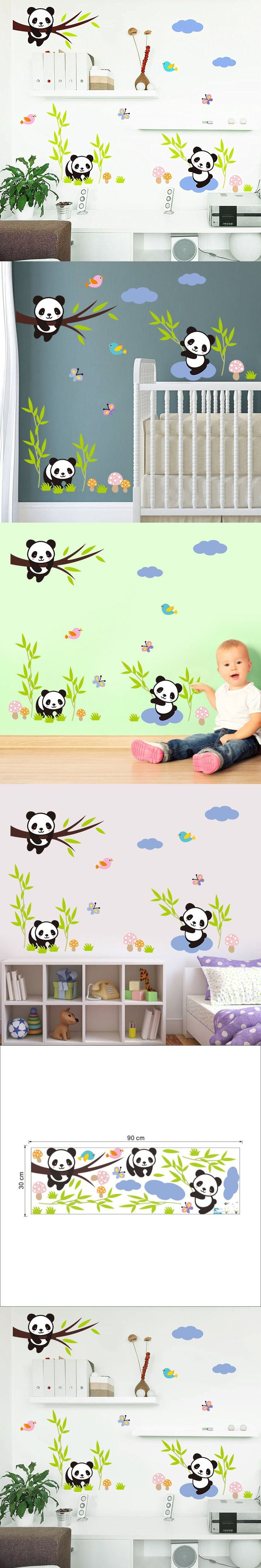 Free shipping!DIy Creative Cute panda bamboo grass stickers home decor for kids rooms living room wall stickers PVC Removable $2.89