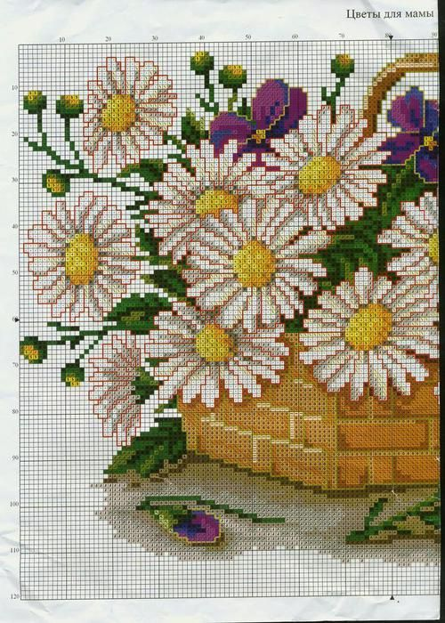 Cross-stitch Basket full of Daisies, part 1.. color chart on part 2... Gallery.ru / Фото #1 - 9 - irisha-ira