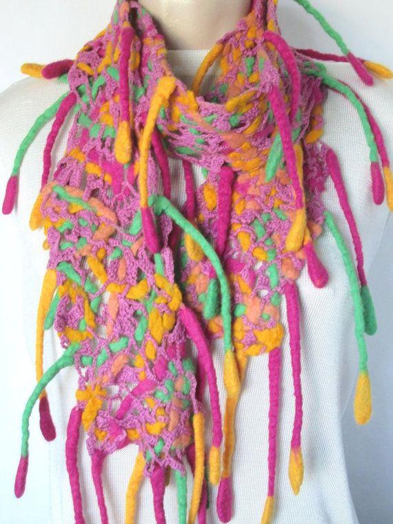 Crocheted scarfFelt scarfOpenwork scarfFancy by AgathaBee on Etsy