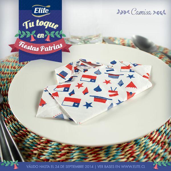 Camisa para decorar tus platos y mesas con Servilletas ELITE FIESTAS PATRIAS 2014