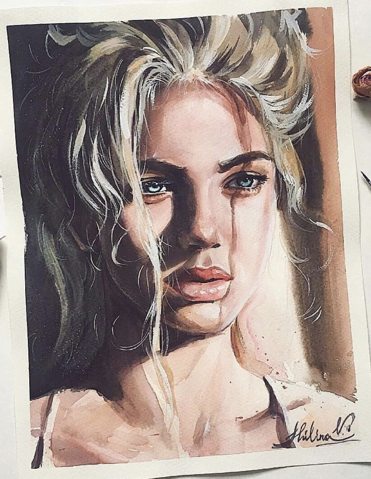 Aquarell Art Aquarell Gesicht Zeichnungen Kunst