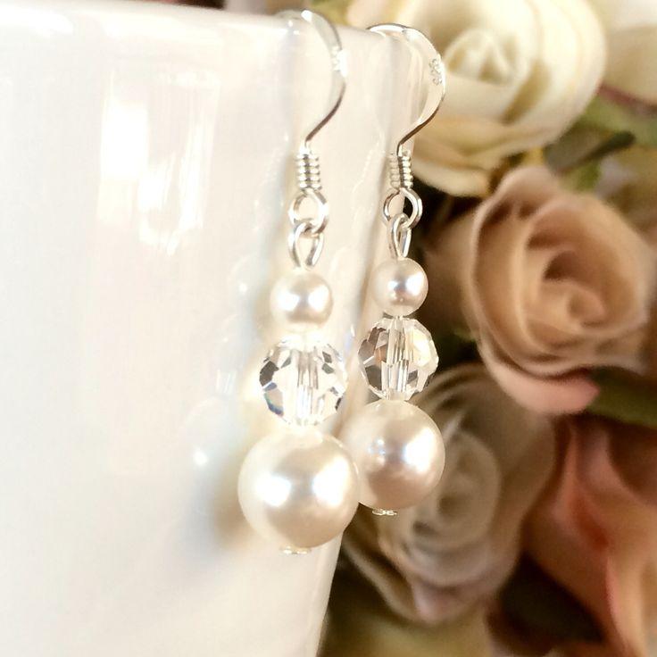 Sterling silver swarovski pearl and crystal bridal earrings, wedding jewellery, bridal jewellery, bridal accessories