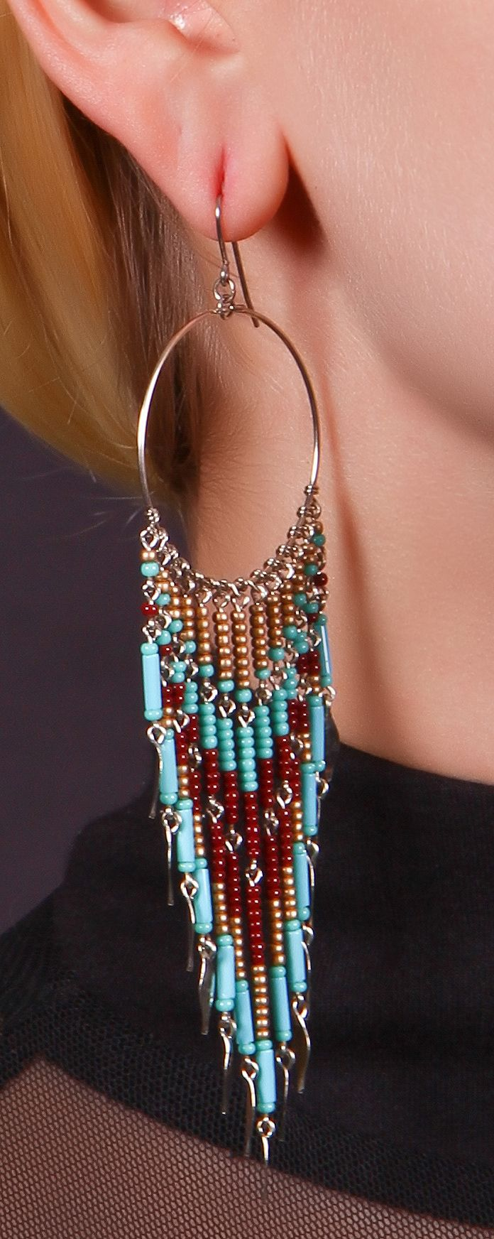 nem peyote, de ötletként - Beaded Dangle Earrings