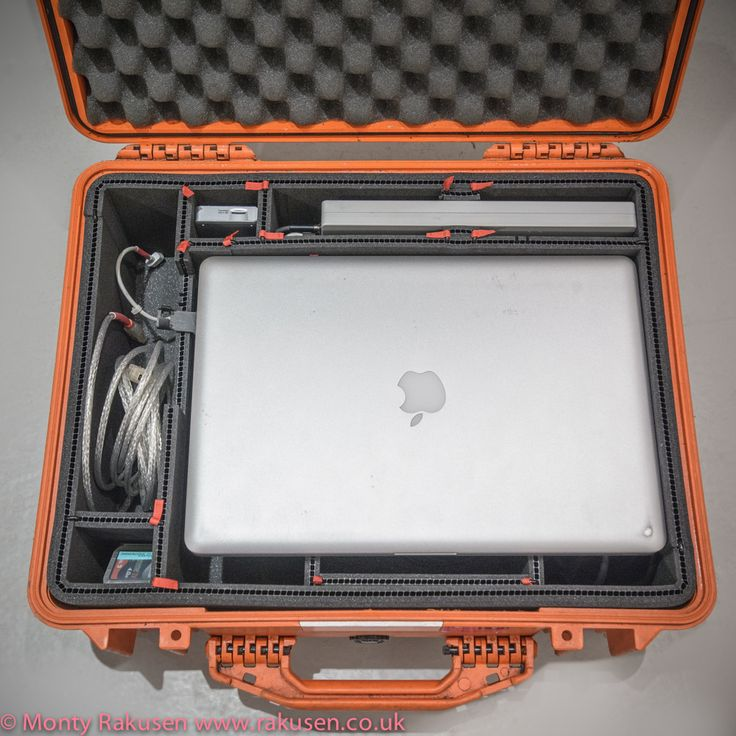TrekPak organizational insert for Pelican case. converted to hold laptop and accessories