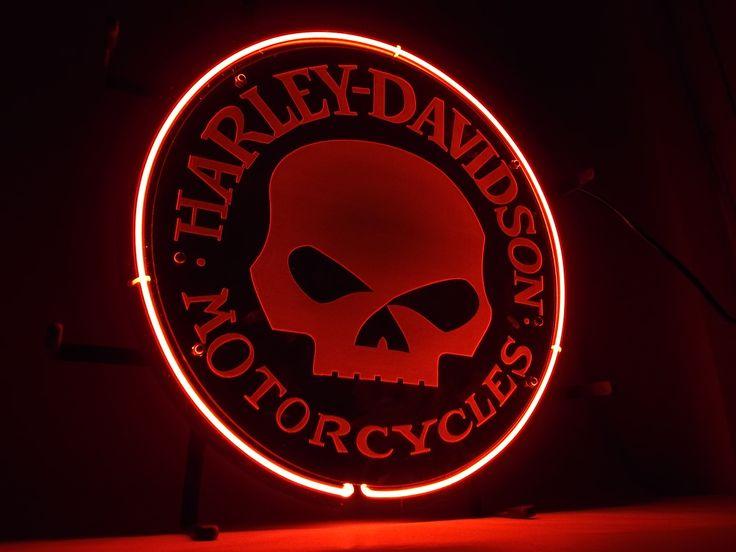 Harley davidson motorcycles skull neon light sign left
