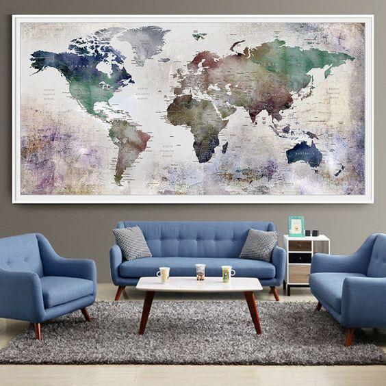 Grote wereld kaart aquarel Push Pin Push pin reizen wereld