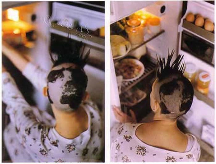 """""""En el trabajo titulado Variations sur le même t'aime de1991, me rapé el pelo dibujando un  mapamundi sobre mi cabeza. Mi objetivo era generar un icono a través de mi propia  alteración corporal."""