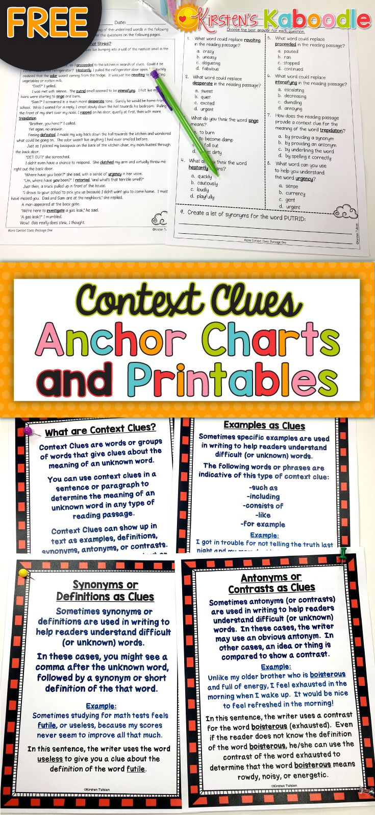 FREE! Are you teaching your students about context clues? This free context clues file includes anchor charts and printables.  It is a print and go, easy to use, fun activity for your students as a review, an introduction, or a warm-up or station activity. Enjoy!