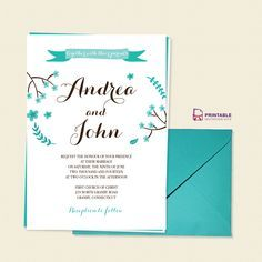 FREE PDF Template. Floral Calligraphy Invitation Template - easy to edit and print at home.