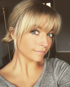 Image result for long hair with bangs blonde