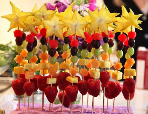 omg!  Fruit kabobs.  So cute!!! Next party for sure