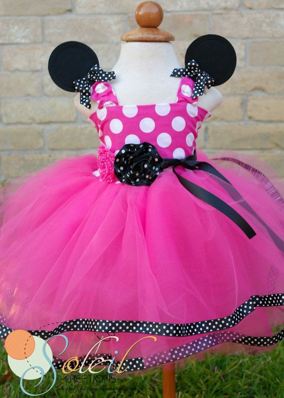 Minnie Mouse Tutu Dress In Black and white dot trim by SCbydesign, $64.99