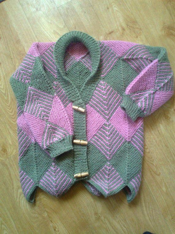 Diamond Pattern Knitting : Knitting Pattern - Childs Knitted Diamond Cardigan