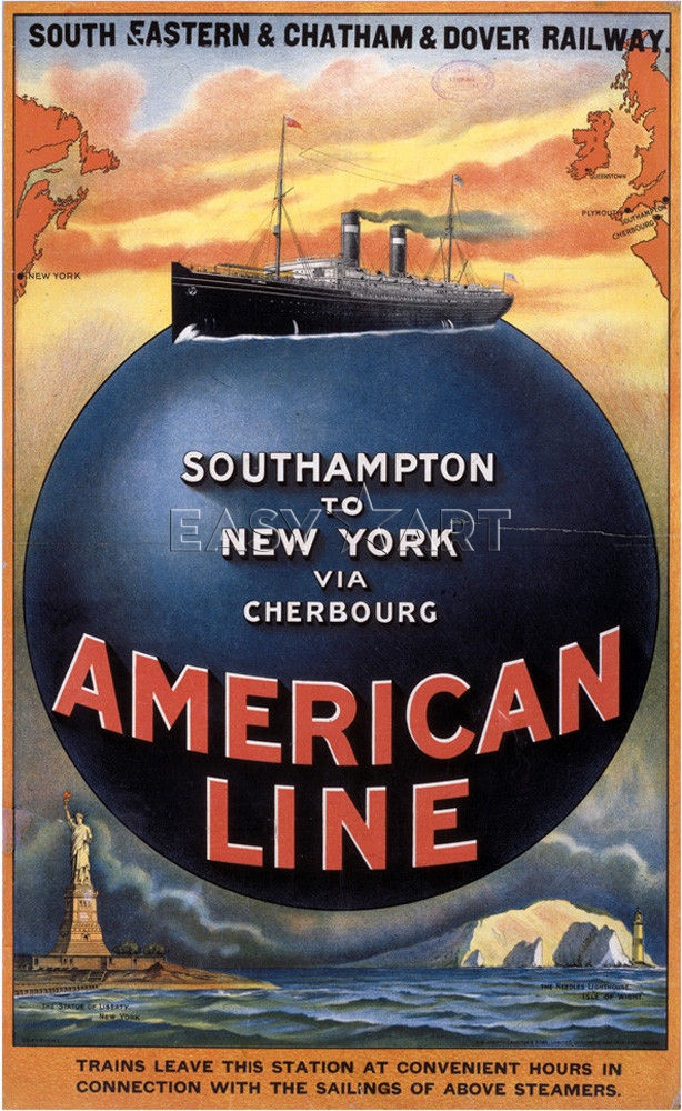 American Line - Southampton-New York This seems the most likely line they travelled on.