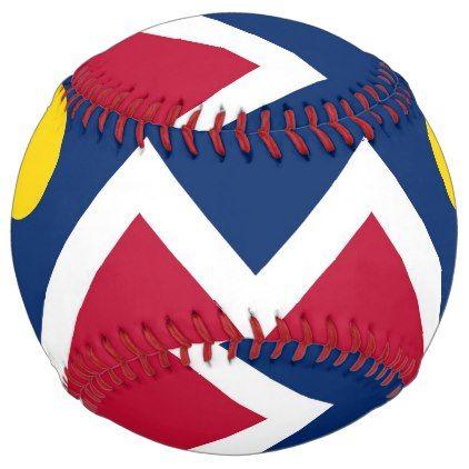 Patriotic Softball with flag of Denver USA - kids kid child gift idea diy personalize design