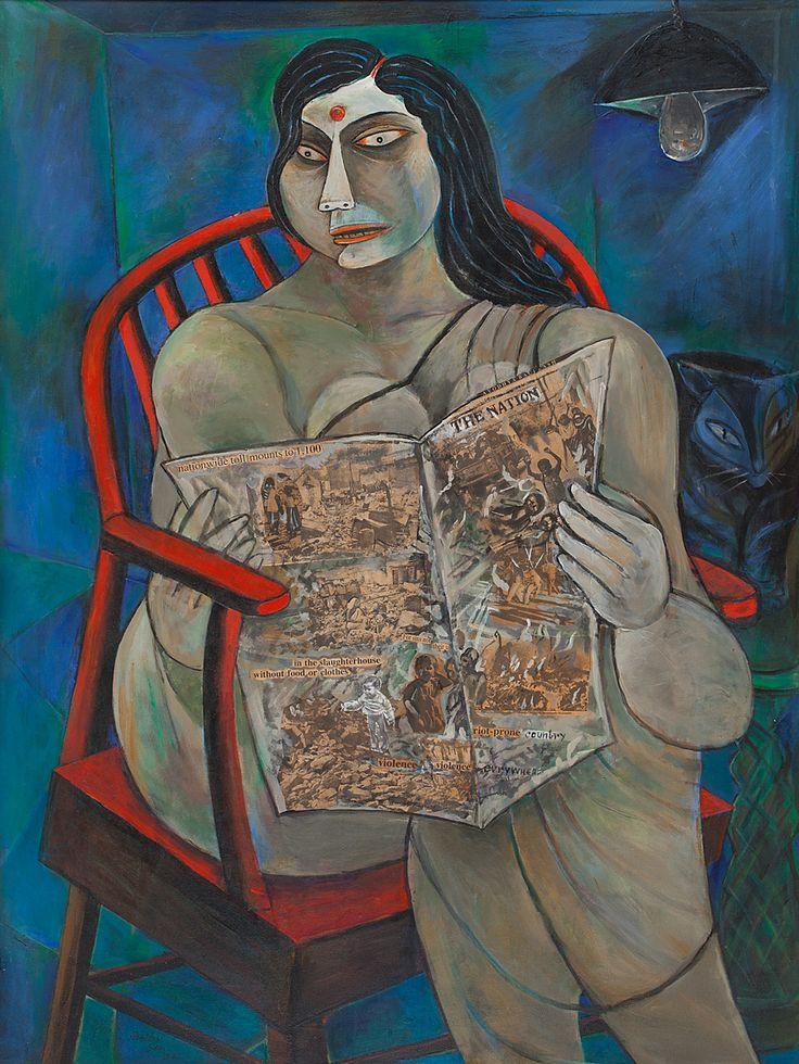 Paritosh Sen Medium: Acrylic on canvas Year: 1992 Size: 47.7 x 35.7 in.