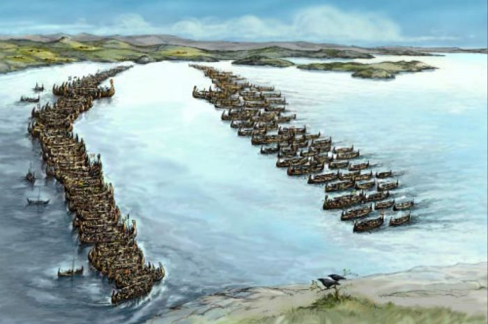 Viking age / The naval battle in Hafrsfjord in about 872 ADis one of the largest in the history of Norway