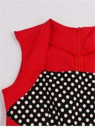 Polka Dot Flare Semi Formal Dress - BRIGHT RED 2XL Mobile