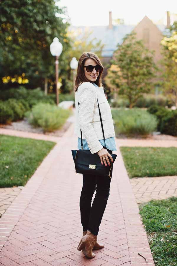 How to wear skinny jeans + booties this fall
